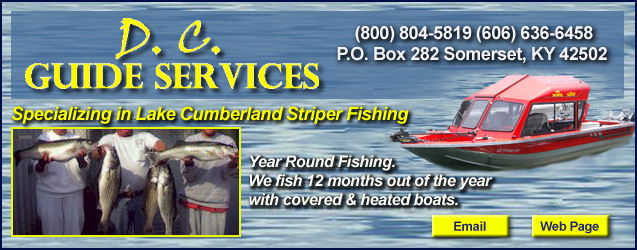 D.C. Guide Services, Cumberland Lake Striper Fishing, Somerset, KY, Kentucky