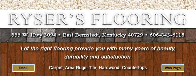 Ryser's Flooring, 555 W. Hwy. 3094, East Bernstadt, Kentucky, Carpet, Area Rugs, Hardwood, Tile, Countertops