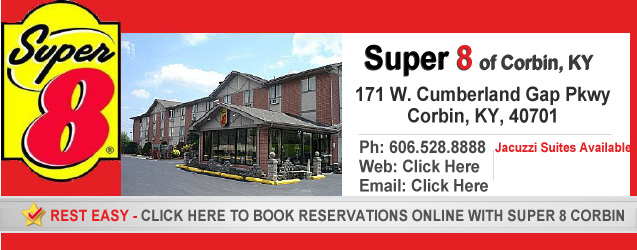 Super 8 of Corbin, KY. 171 W. Cumberland Gap Pkwy, Corbin, KY 40701 - 606-528-8888. Book Reservations Online. Jacuzzi Suites Available!
