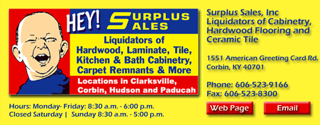 Surplus Sales, Hardwood, Laminate, Cabinetry, Ceramic Tile